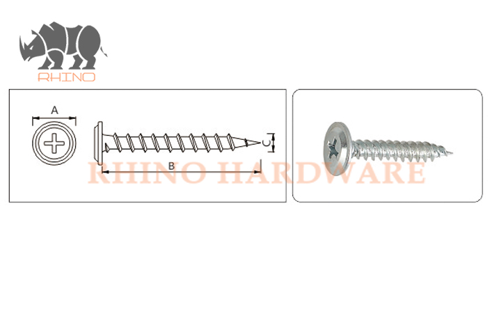 Phill Drive Flat Washer Self Tapping Screw